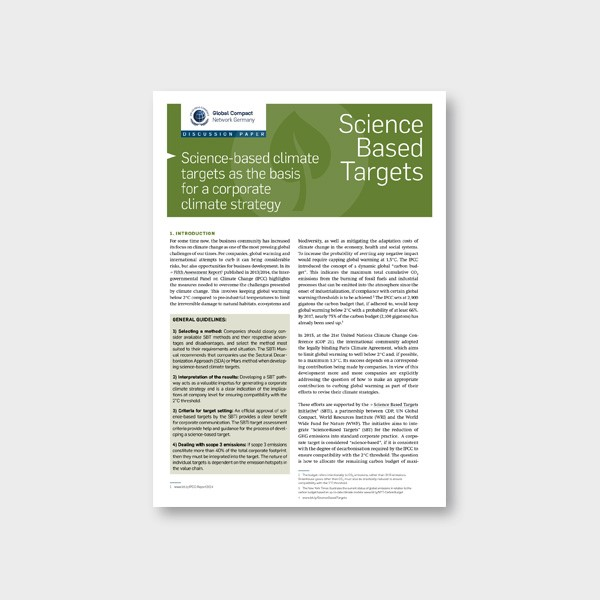 Global Compact Network Germany (2019): Discussion paper SBT – Science-based climate targets as the basis for a coporate climate strategy